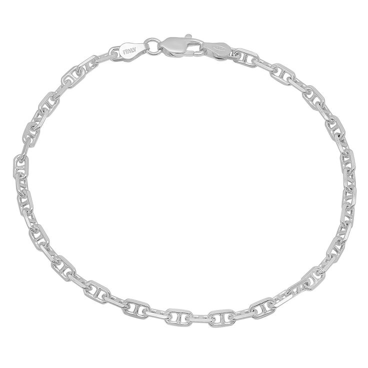Solid 925 Sterling Silver 3.8mm Mariner Link Bracelet Made in Italy ** Check out this great product.