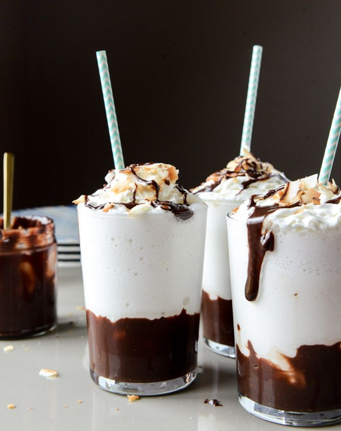 YES! Boozy coconut hot fudge milkshakes #recipe