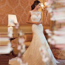 Romântico Hot Sale Cheap Lace Sereia Vestidos de Casamento 2017 Custom Made Moda Vestido de Noiva sem mangas Vestidos De Noiva Em Renda alishoppbrasil