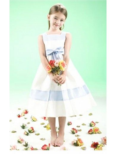 Multi Colors A-line Tea-length Jewel Dress