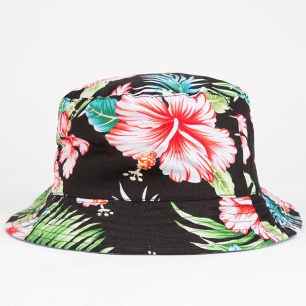 Hawaiian Reversible Mens Bucket Hat Black One Size For Men 25476210001