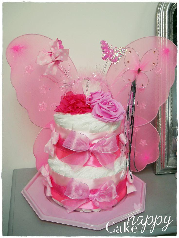 gateau de couches fée rose diapercake cadeau bébé naissance baptême original www.nappy-cake.fr