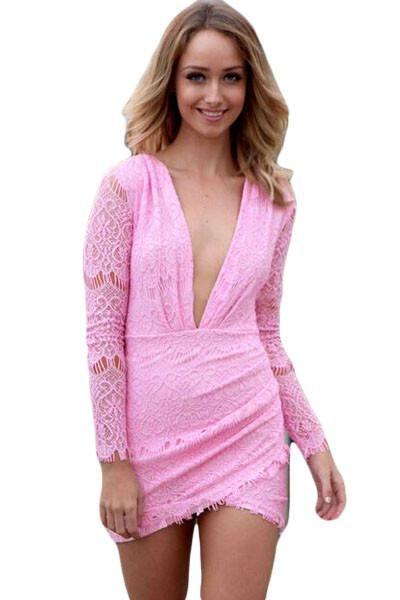 Mini Robes Robe Rose En Dentelle De Charme Pas Cher www.modebuy.com @Modebuy #Modebuy #Rose