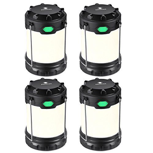 Hillmax 4 Pack Camping Lantern with 3 LED Modes White Light,Warm Light and Mixture Portable Outdoor Light Operated by AAA or AA Batteries for Camping, Fishing and Emergency(Battery Included)  SUPERIOR BRIGHTNESS: This camping lantern maximizes lighting with a 100 Lumen rating; Special energy-efficient LED light strips are unique and increase the lifetime of the light  FLEXIBLE POWER: Powered by either AAA or AA batteries, this lantern is extremely flexible for all users; Operation is s...