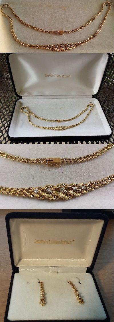 Other Fine Jewelry Sets 164328: Service Merchandise Jewelry Rope Bracelet Necklace Earrings Diamonds 14K Gold BUY IT NOW ONLY: $999.0