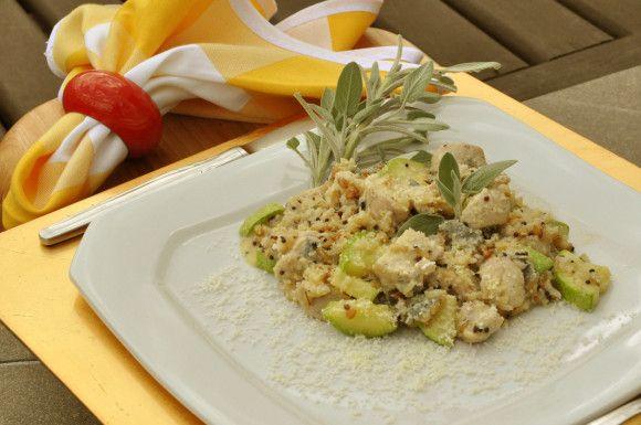 Risoto de arroz sete grãos (frango e abobrinha): Risotto, Rice, Chicken Sage