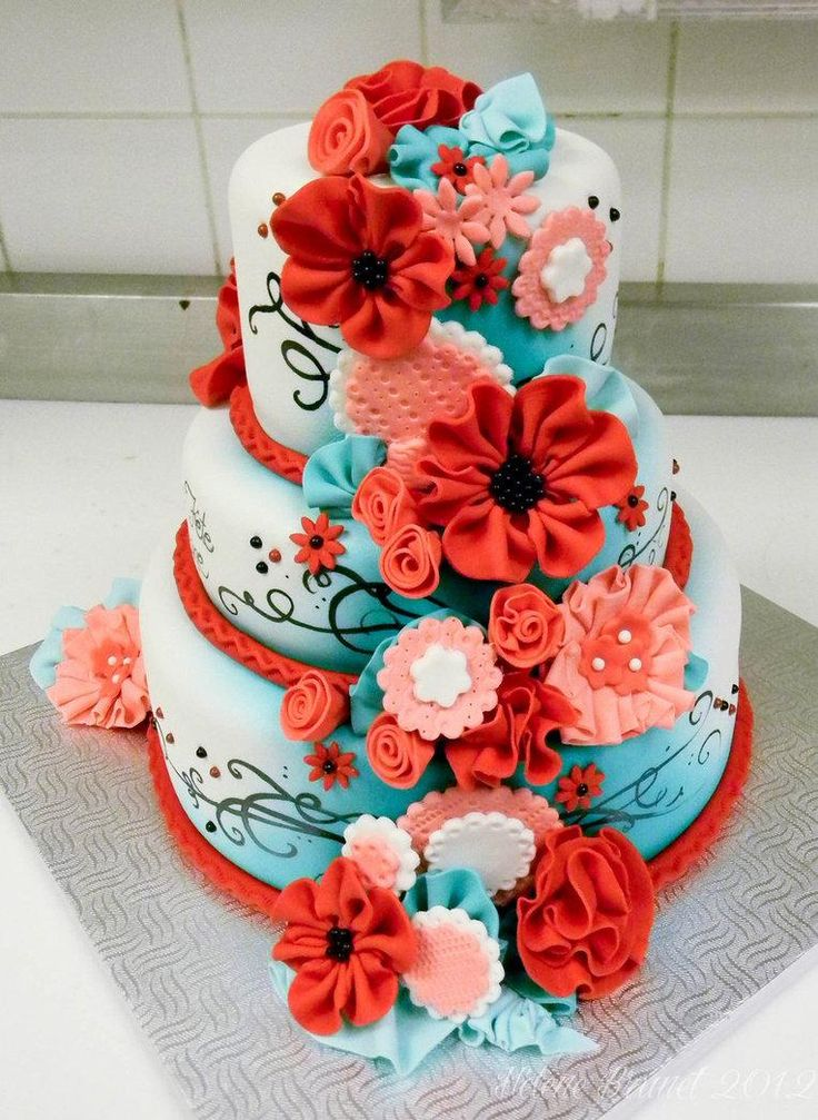 Salmon & Teal wedding cake