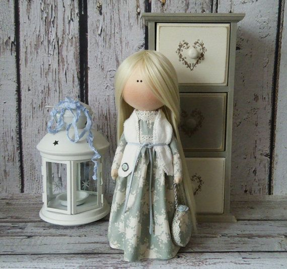 Lady doll Tilda doll Art doll handmade blonde turquise colors Rag doll Soft doll Fabric doll Home doll by Master Irina Bukina