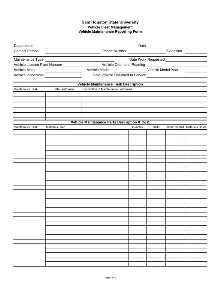 car service record template