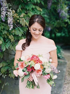 Elegant French Chateau Wedding. Gorgeous bouquet. I love the horizontal shape, the variety of flowers, and the wide ribbon.