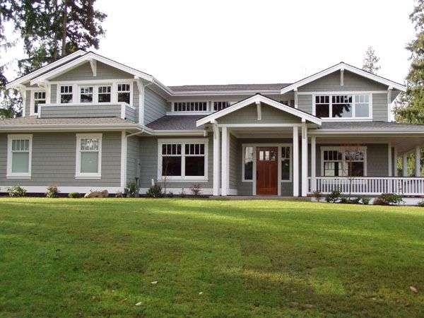 perfect gray house exterior - not too dark, not too light and love the door colour