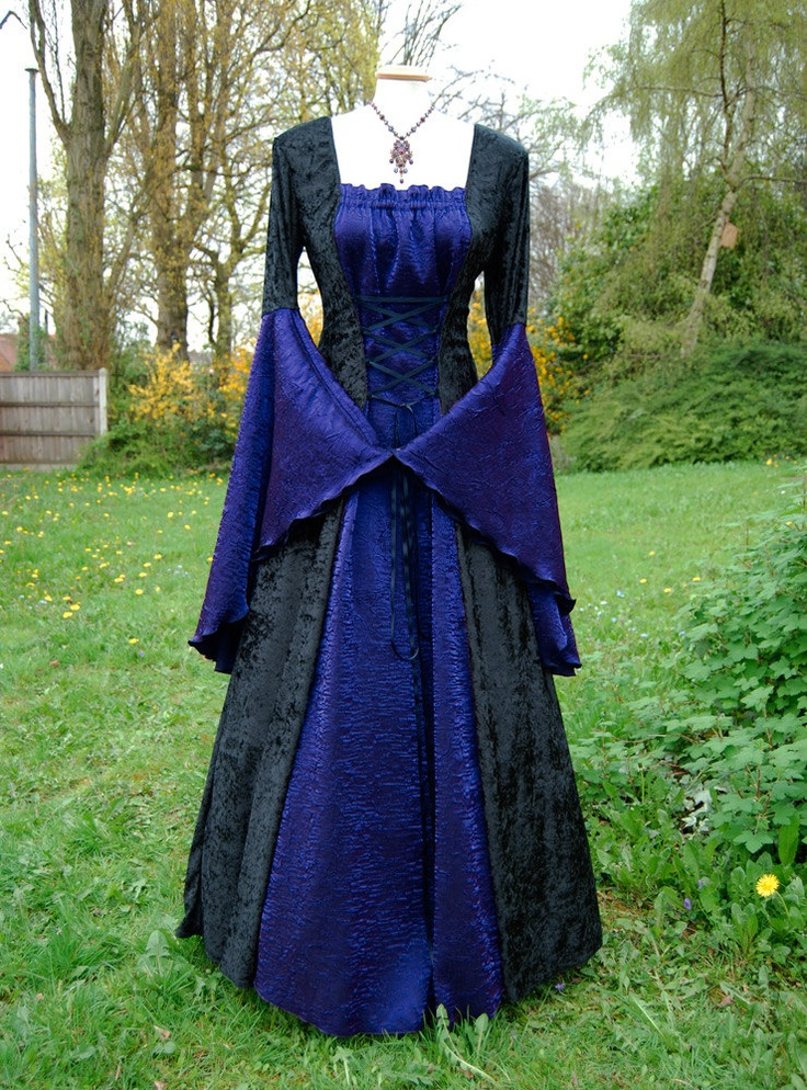 Medieval dress wedding gown handfasting available in sizes for Wedding dress in blue