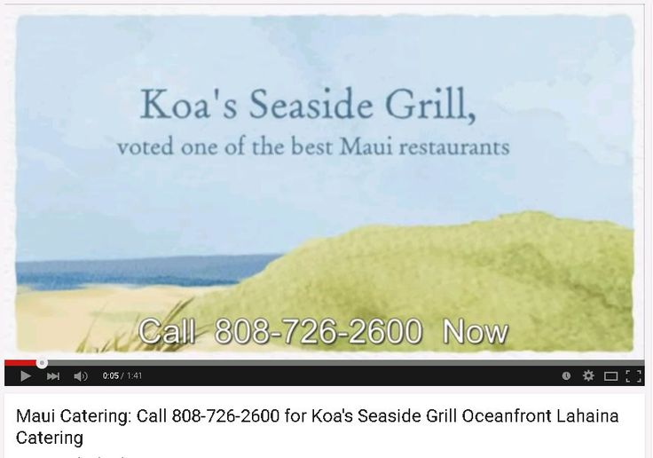 Call 808-726-2600 for Koa's Seaside Grill Oceanfront Lahaina Catering on Front Street.   Koa's Seaside Grill is right on the ocean in the heart of historic Lahaina and was voted as the best new Maui restaurant 2013/2014.