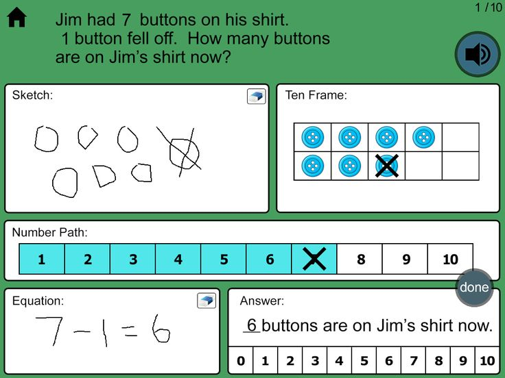iPad App ~ Common Core Aligned Word Problems. Students sketch, show their work on a ten frame, show their work on a number path and then write the equation. First level, Addition and Subtraction within Ten, is free.