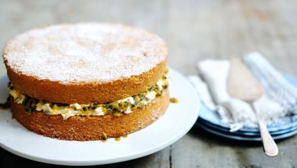 A classic sponge cake (with passion fruit filling) |      Delia shows you how to bake a perfect sponge cake with a creamy passion fruit filling.Equipment: You will also need two 8 inch (20 cm) 1½ inch (4 cm) deep sponge tins, lightly greased and the bases lined with silicone paper (parchment).