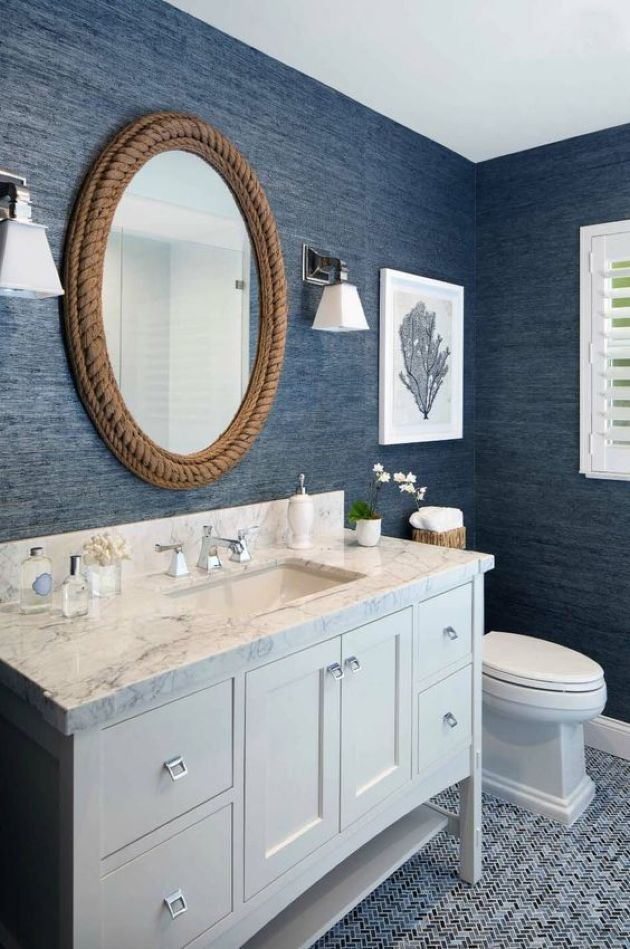 Nautical Bathroom With Navy Textural Wallpaper And Rope Covered