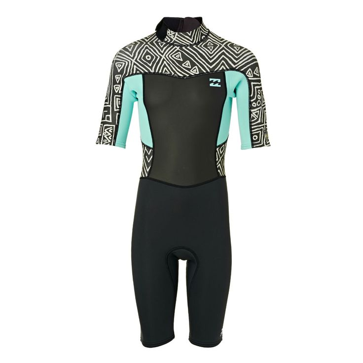 Billabong Girls Synergy 2mm Back Zip Short Sleeve Shorty Wetsuit - Geo Diamond