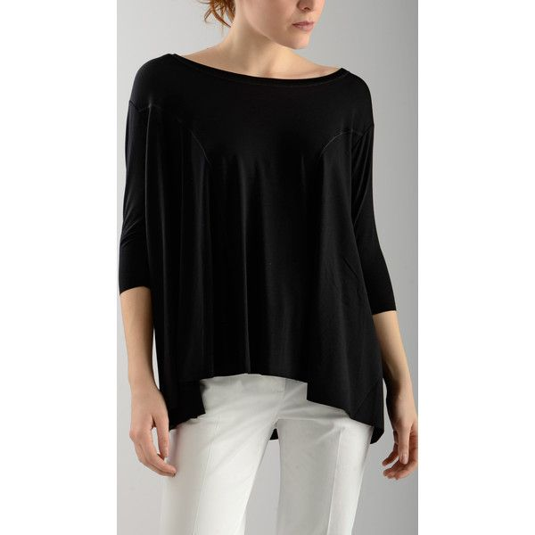 Terre Alte Three Quarter Sleeve Black Loose T-Shirt ($155) ❤ liked on Polyvore featuring tops, t-shirts, loose fitting t shirts, loose tops, 3/4 sleeve tee, boat neck tee and 3 4 sleeve boatneck tee