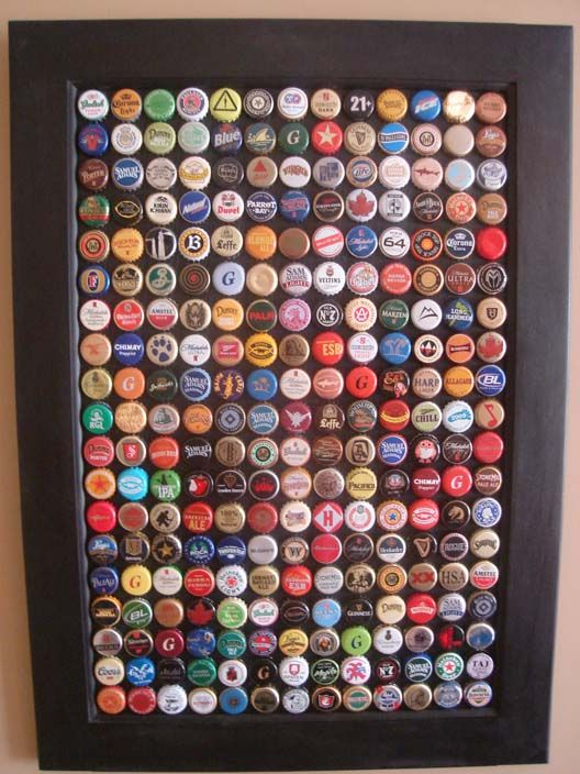 bottle cap wall art.  This would be a fun...  Mmmm beer.