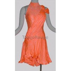 Share me and get 5% off coupon Orange Halter Latin Ice Skating Dance Dress