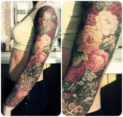 floral tattoo sleeve.way too much for me, but beautiful color and detail!