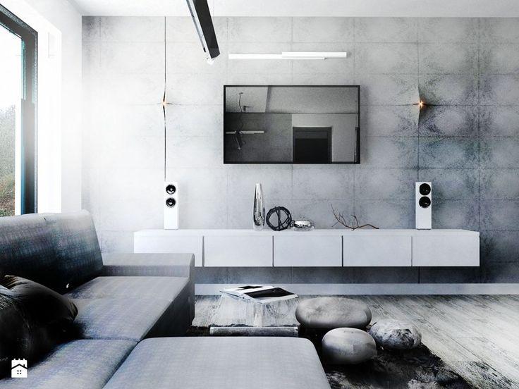 Aranżacje wnętrz - Salon: Minimalistyczny salon biel+beton - gabriella-bober. Przeglądaj, dodawaj i zapisuj najlepsze zdjęcia, pomysły i inspiracje designerskie. W bazie mamy już prawie milion fotografii!