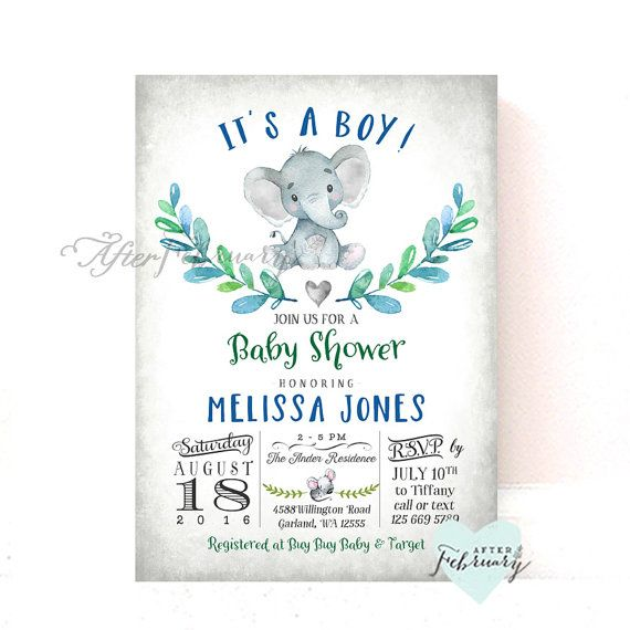 Elephant Baby Shower Invitation Boy Baby Shower by AfterFebruary