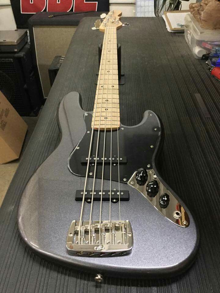 Here's a JB-5 in Graphite Metallic, 1-ply black guard, maple neck with Clear Satin finish. CLF078150 is headed to Vance Music Center in Bloomington, Indiana. G&L Musical Instruments.