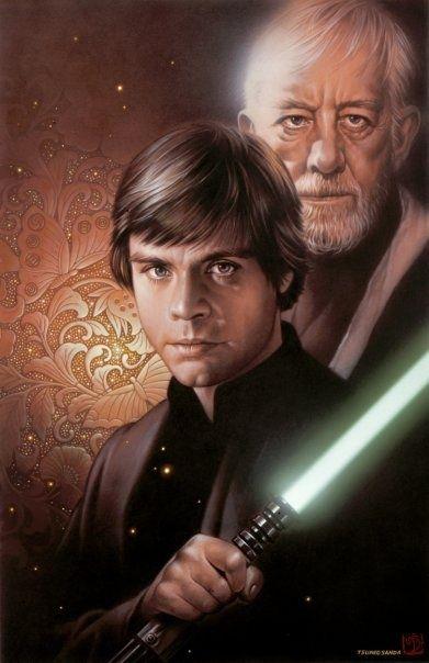 """Luke and Ben (from """"30 new amazing Star Wars illustrations)   Via: FromUpNorth (#starwars #lukeskywalke #obiwankenobi)"""
