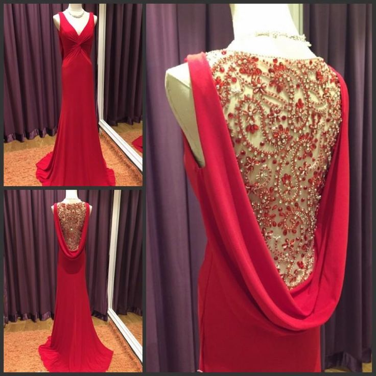 Red Evening Dresses Chiffon Cowl Back  Prom Dress $136