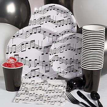 Our Music Note Basic Party Pack includes table service for eight people including balloons and curling ribbon.