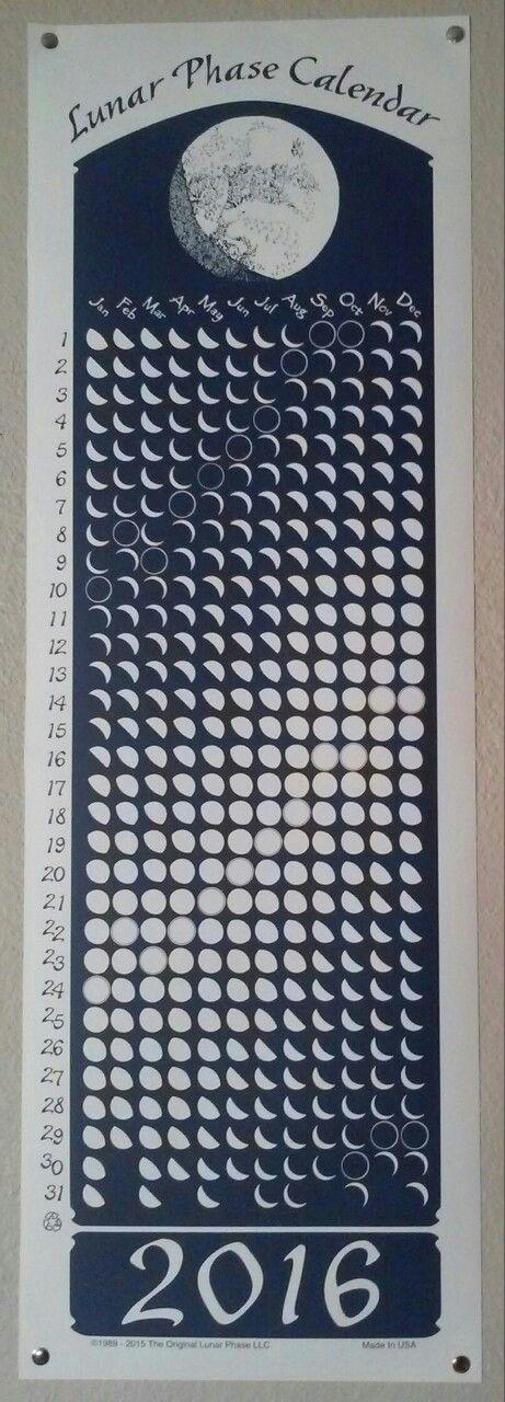 Lunar Phase Calendar, 2016