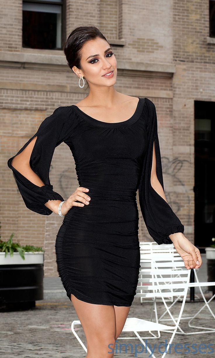 Now 10 little black dresses for - Jn 1178s Short Scoop Neck Dress With Long Sleeves