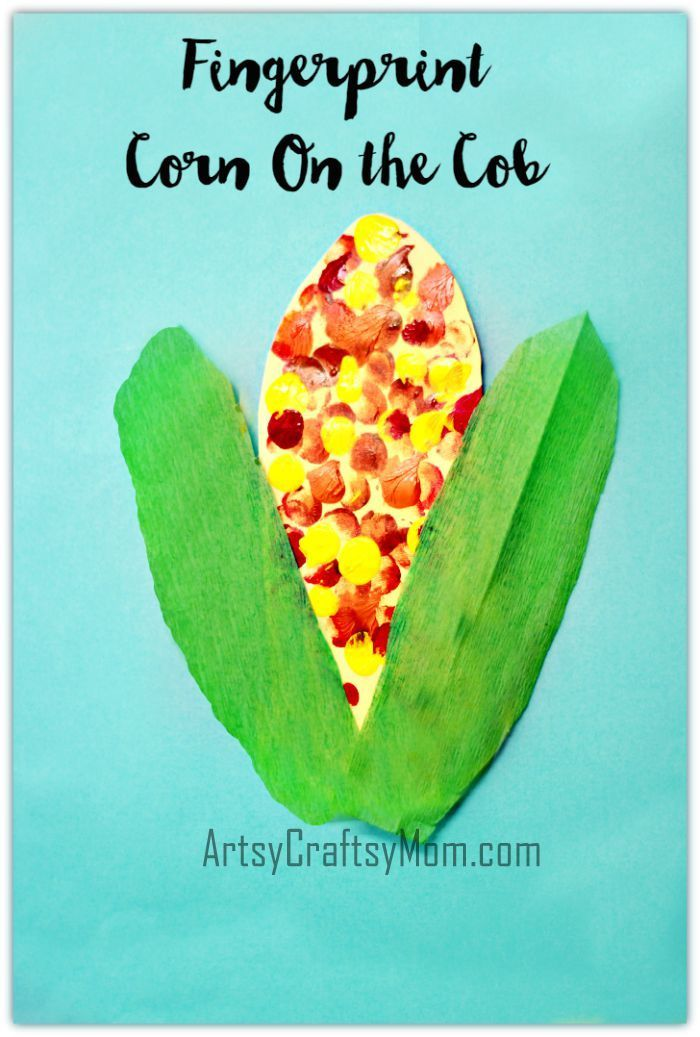This Fingerprint Corn on the Cob Art is the perfect fall or farm craft. Kids will enjoy dipping their fingers in colored paint and printing.