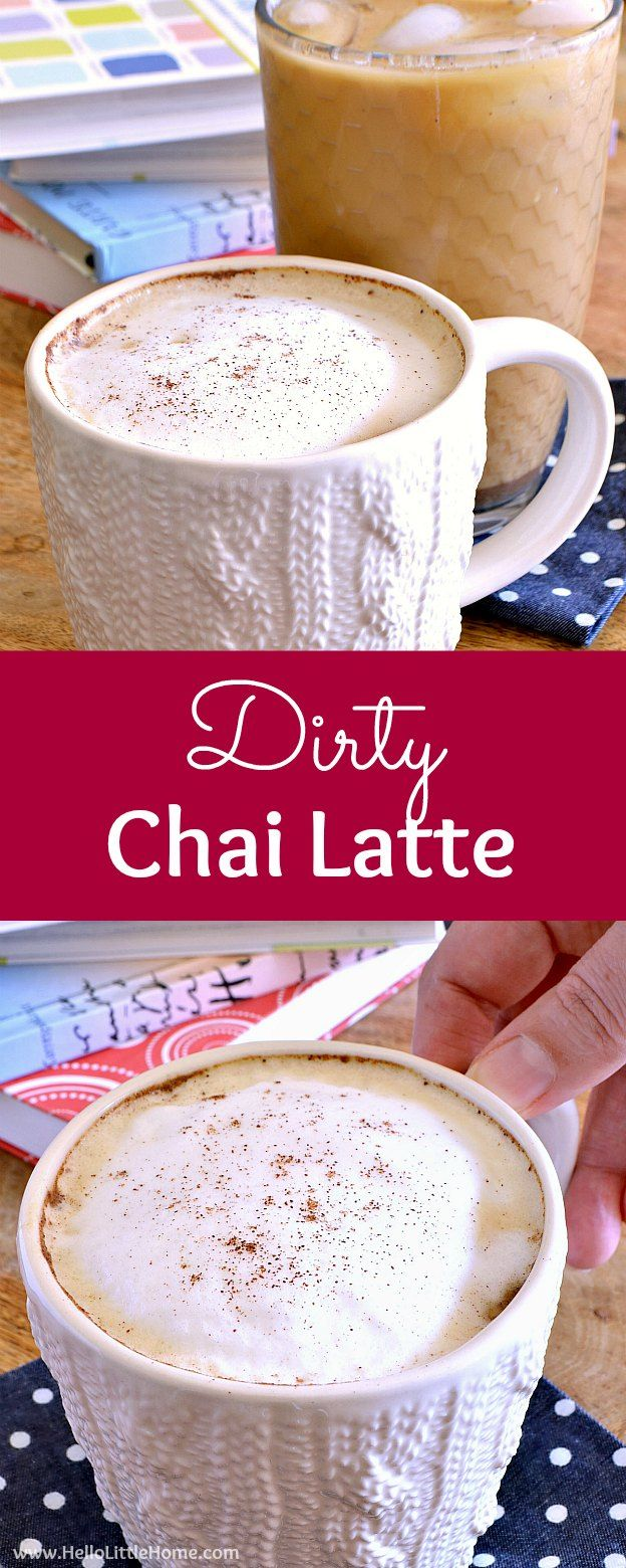 Dirty Chai Latte recipe ... black tea with flavorful chai spices and a double shot of espresso! Learn how to make a Dirty Chai Latte with this easy drink recipe. Enjoy this DIY Dirty Chai Latte iced or hot ... it's the perfect afternoon or morning pick me up! | Hello Little Home #dirtychai #dirtychailatte #espresso #chailatte #coffeedrink #chai via @ginniel