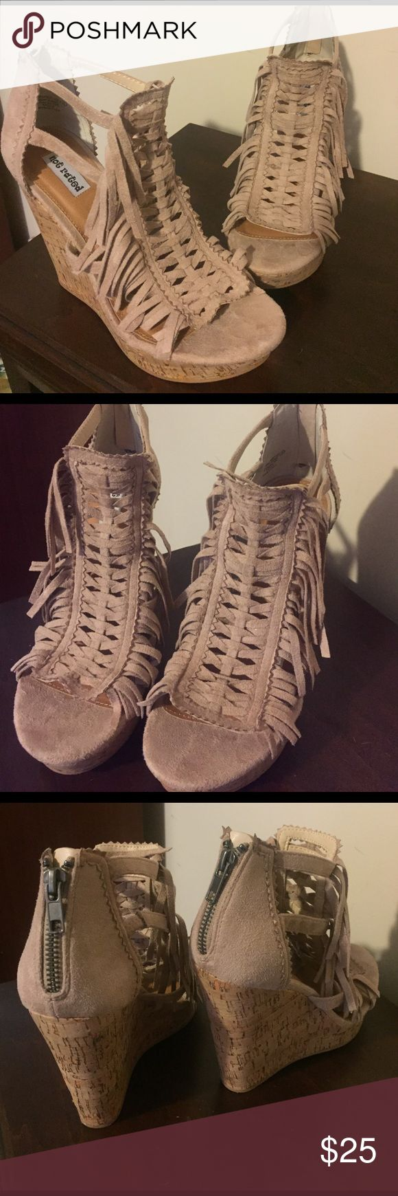 Not rated taupe fringe wedges Not rated taupe fringe wedges. Size 8. So cute! Not Rated Shoes Wedges