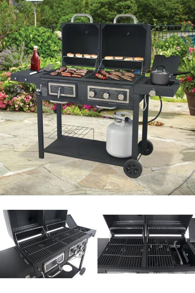 ICYMI: Dual Fuel Charcoal And Gas BBQ Grill Combination Side Burner Portable 3 Burner