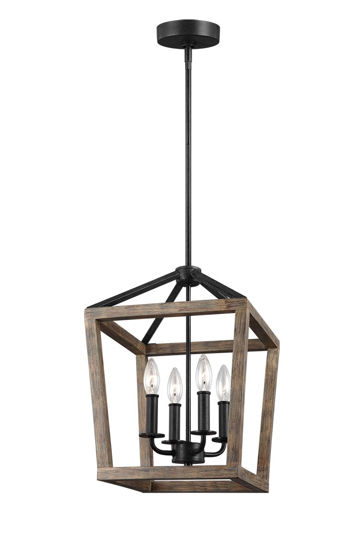 "The Gannet 4-Light Chandelier by Feiss exudes rustic charm with a carefully crafted two-toned finish of painted, distressed Weathered Oak on an Antique Forged Iron metal frame. Clean, crisp edges and bold lines give a tailored look to this classic lantern silhouette. Gannet features open, airy frames on the sides and crown. The Gannet 4-Light chandelier is offered in two sizes: 26.75""H x 18""W and a 17""H x 12""W. Ideal for dining room lighting."