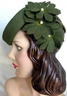 Vintage-40s-Green-Felt-Flowers-Tilt-Hats-As-Is-for-Restoration-or-Pattern