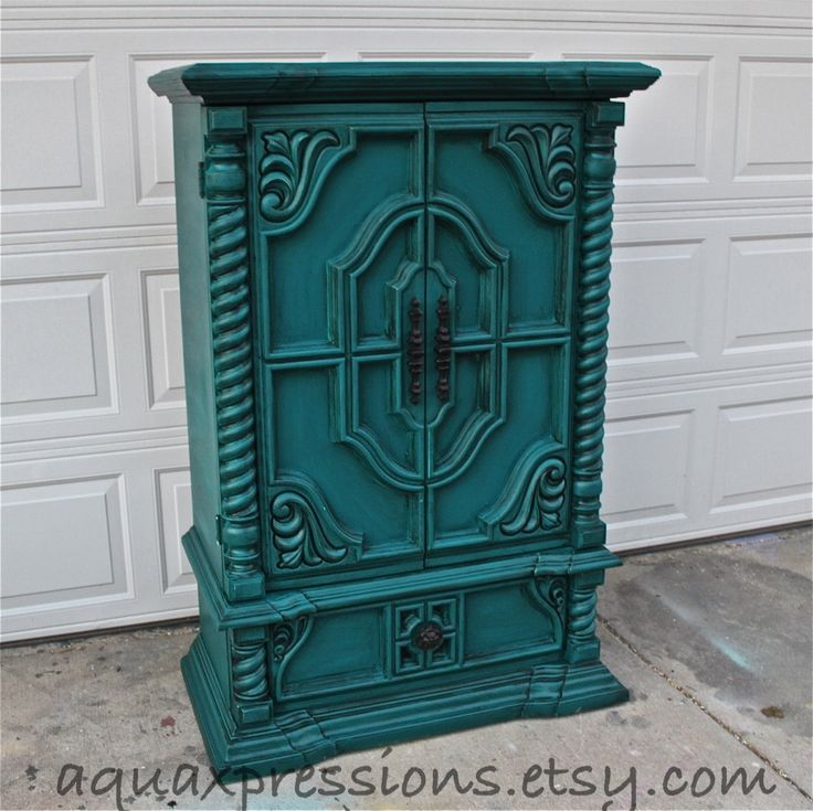 Vintage Armoire /Gypsy Teal / Bedroom Furniture/ Distressed /Black Drawer Pulls/ TV Stand/ Storage -Custom Paint to Order. $499.00, via Etsy.