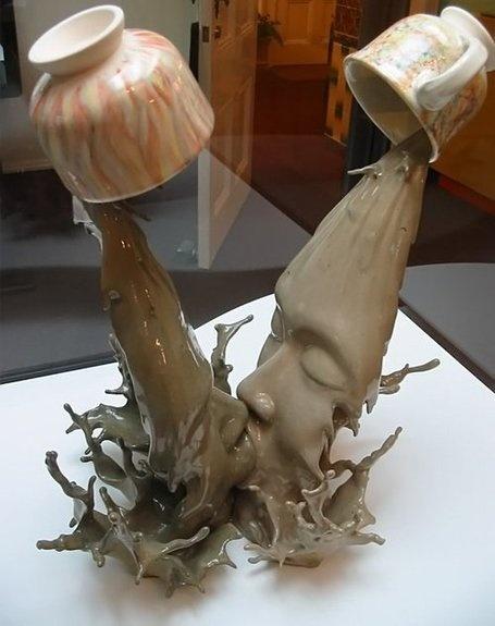 曾章成 (Johnson Tsang) | Sculptor: Coffee Lovers, A Kiss, Ceramics Art, Mandarin Duck, Coff Lovers, Coff Art, Amazing Sculpture, Coffee Art, Ceramics Sculpture
