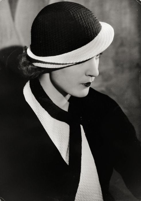 Elegant Hat in Blue Silk with White Flap and Shaw, c.1932 by Yva [Else Neuländer-Simon]  fromgrisebach