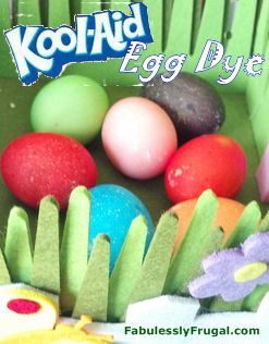 Get vibrant colored Easter Eggs using Kool-Aid to dye them.  It's easy, smells good and does not require vinegar!