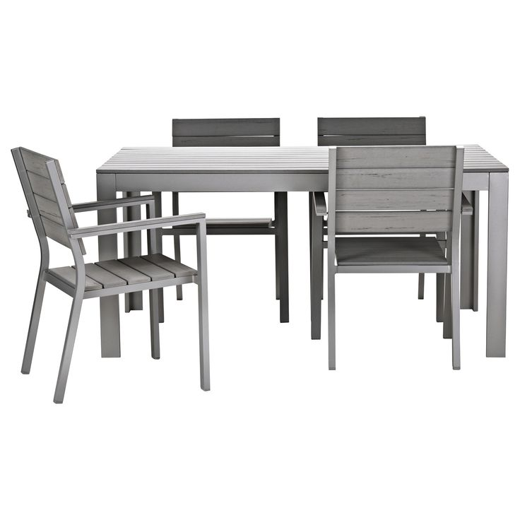 FALSTER Table and 4 armchairs - gray - IKEA