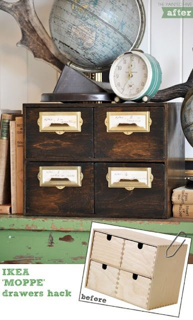 GASP!!!!! This is exactly what I have been wanting to do with this Ikea product!  Like, exactly!  So excited.  Will buy a bunch of these, make them look like this and have a cool vintage-inspired old library catalog furniture piece!!!!! Squeeeee!