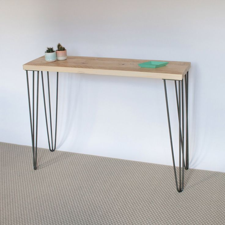Lea Console Table  Hairpin legs  Industrial  Mid Century Modern Style  Reclaimed  Wood  Eco Friendly  Scandinavian Style