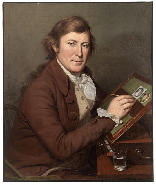 """James Peale Painting a Miniature"" by Charles Willson Peale (1795) in the Mead Art Museum, Amherst"