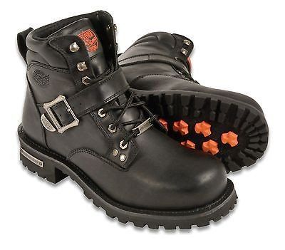 MEN'S MOTORBIKE BOOTS REAL LEATHER 6 INCH SIDE BUCKLE BOOT WITH LACES NEW