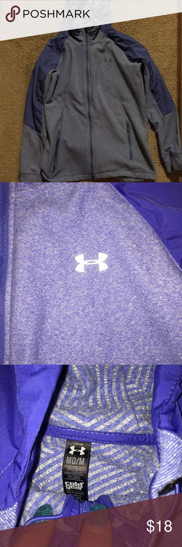 Under Armour Zip up Hoodie Powder blue UA zip up! Super comfy and even has waterproof material on hood, shoulders and part of the arms. The flash makes it look purple but it's actually blue! Pretty much brand new😁 Under Armour Tops Sweatshirts & Hoodies