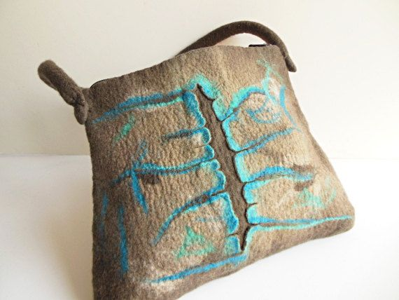 Felted bag hand felted wool bag purse unique handbag by Dagneart, $75.00